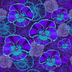 Floral seamless pattern with violet flowers