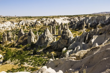 Bizarre rock formations of volcanic Tuff and basalt in Cappadoci