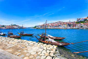 Oporto or Porto skyline, Douro river and boats. Portugal