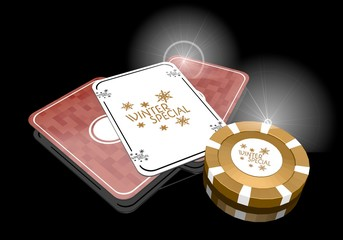3d render of a exclusive winter special symbol  on poker cards