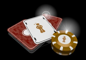 3d graphic of a golden heartsickness sign  on poker cards