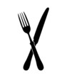 crossed fork over knife - vector