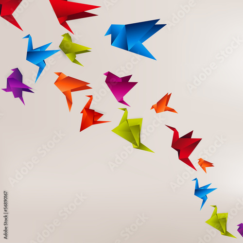 Deurstickers Geometrische dieren Origami paper bird on abstract background