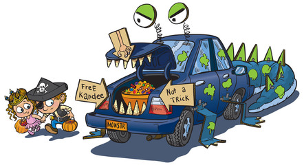Two Kids Trunk or Treat on Halloween Clip Art