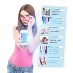 Teenage girl using social network on the phone