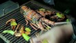 Grilling big Spiny Lobster on the coals