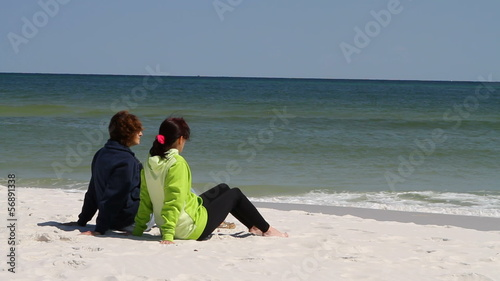 Women Sitting Beach