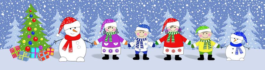 Баннер новогодний.Дети, снеговики, ёлка с подарками .