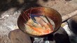 Frying giant freshwater prawn on a bonfire