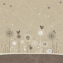 Floral background card with snail, birds and butterflies.