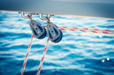 Ropes and pulleys on a sailboat