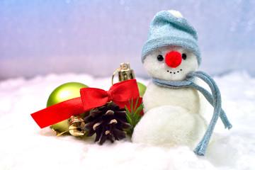 Snowman and Christmas balls