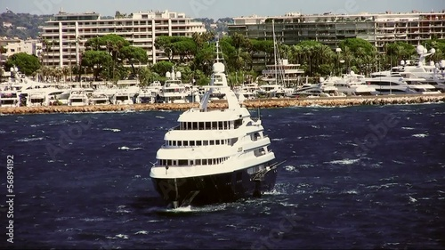 Luxury yacht anchored in Cannes bay