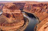 Fototapety Two Boats Navigate Colorado River Deep Canyon Horseshoe Bend