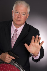 Business Man Defends Himself Holding Small Semi Automatic Gun