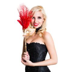 attraktive junge Frau mit venezianischer Maske