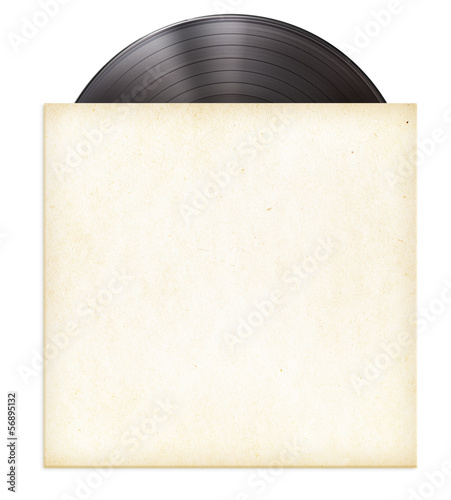 canvas print picture vinyl record disc LP in paper sleeve isolated