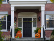 Front steps with Halloween, decorations