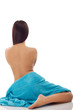 beautiful woman with blue spa towels on white