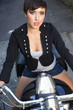 Intimate Portrait Young Glowing Woman Sitting on Motorcycle