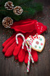 Red knitted gloves, Christmas candy canes and cookies