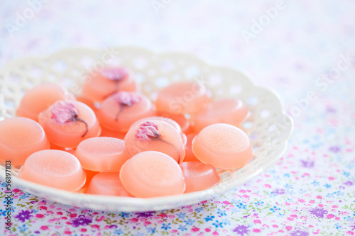 Homemade sweets with cherry blossom, selective focus