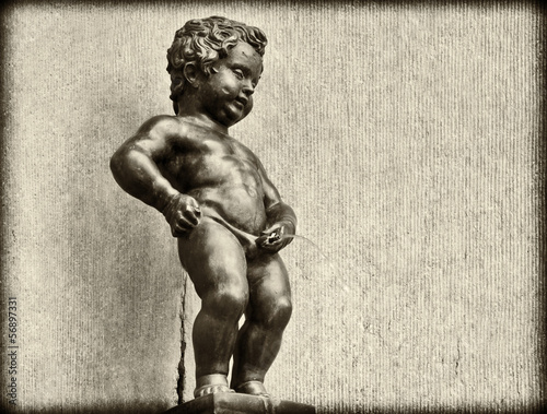 Grunge Vintage look of Manneken Pis in Brussels