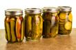Homemade pickles in mason jars