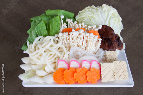 The Japanese vegetables in white dish.