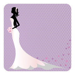 Silhouette of a bride in lace dress, place for your text