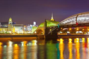 View of Moscow. Pedestrian Bogdan Khmelnitsky Bridge