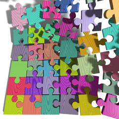 Puzzle und Puzzleteile