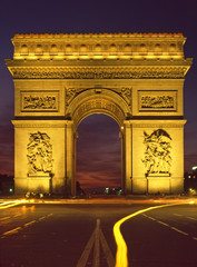 Paris floodlit Arc De Triomphe