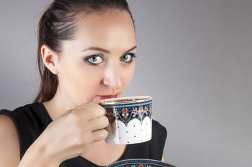 businesswoman drink coffee
