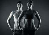 Man and woman's torso isolated on a black background