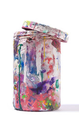 Contenitore di tinta sporco di colore