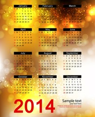 Vector calendar 2014 gold abstract background.