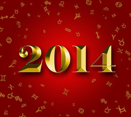 Golden 2014 astrology background with zodiac signes