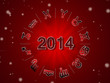 Red 2014 astrology background with zodiac signes