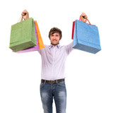 Happy handsome man with shopping bags