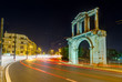 Arch of Hadrian at night, Athens, Greece