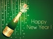 2014 Happy New Year. Green and gold greeting card.