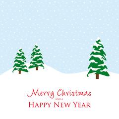 merry christmas happy new year schneelandschaft