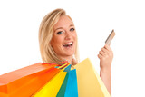 Attractive young woman with colorful shopping bags