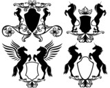 set of heraldry with rearing up magic horses (easy editable)