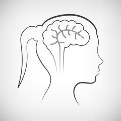 Frauenkopf mit Gehirn Kontur