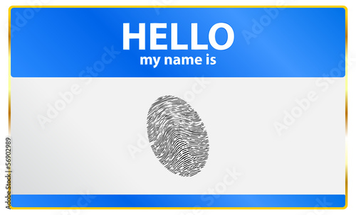 Hello My Name Is Card With Fingerprint Security Access
