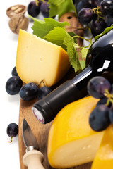 Wine, cheese and grape