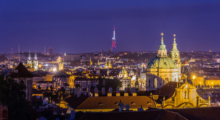 View of night Prague from Hradcany