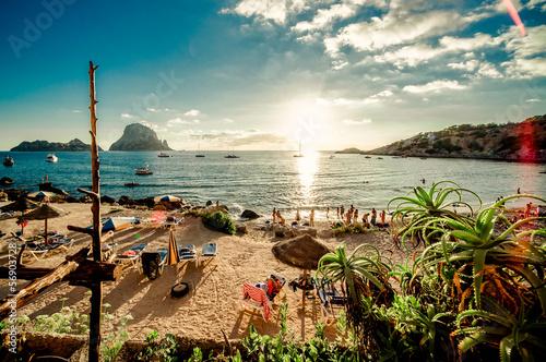 Mediterranean Europe View of Cala d'Hort Beach, Ibiza